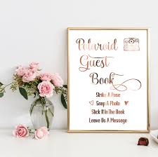 Sign Book For Wedding Copper Wedding Sign Polaroid Guest Book Swirly