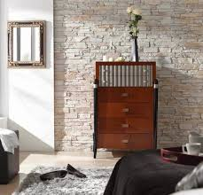 faux stone wall panels decor for bedroom combined with white interior color paint and brown chest of drawer furniture ideas