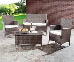 Furniture: Amazing Cheap Black Resin Wicker Modular Outdoor Patio Furniture Set With Round Coffee Table