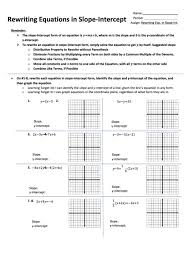 rewriting equations in slope intercept