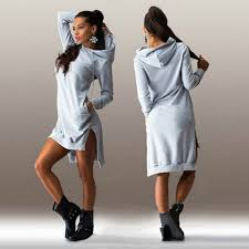 2018 Women Jumper Dress Hooded Sweatshirt Vestidos Winter Sweater Dress  Sexy Long Sleeve Loose Casual Tunic Hoodie For Gift-in Dresses from Womens  Clothing ...