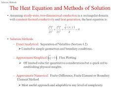 the heat equation and methods of solution
