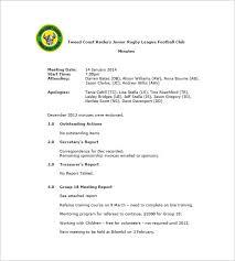 munites of meeting club meeting minutes templates 8 free sample example format