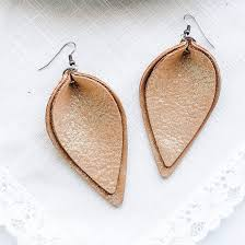 genuine leather earrings layered leather earrings caramel latte shimmer petal rustic style joanna gaines style magnolia