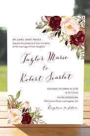 Marsala Wedding Invitation Set Burgundy Blush Wedding Invites