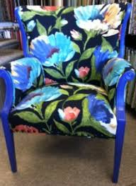 Blue Patterned Chair Inspiration For Sale Funky Blue Floral Arm Chair It's Bout Time Upholstery