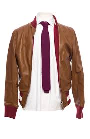 bally reversible leather jacket in light brown and red