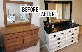 diy bedroom furniture. Before And After DIY Bedroom Dresser Makeover With 10 Drawer Black Metal Handle Painted White Color Plus Square Mirror Table Top Ideas Diy Furniture N