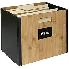 office file boxes. G.U.S. Decorative Office File Box For Letter Size Folders Bamboo And Black Leatherette \u2013 Collapsible Boxes A