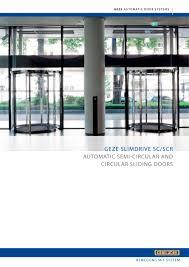 geze slimdrive sc scr automatic semi circular and circular sliding doors 1 32 pages