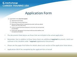 Interexchange Career Training Application Guidelines - Ppt Download