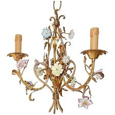 french tole pastel porcelain flowers chandelier for
