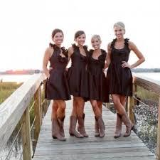 2016 Hunter Country Style Short Chiffon Bridesmaid Dresses Modest Country Western Style Bridesmaid Dresses
