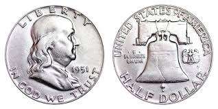 1951 Franklin Half Dollar Liberty Bell Coin Value Prices