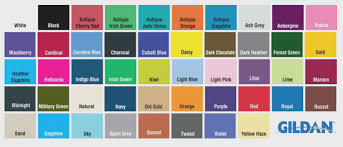 Fruit Of The Loom Color Chart 2017 Gildan Color Chart Gallery Of Chart 2019