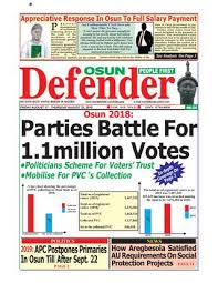 Osun Defender Online Version Of August 17 2018 By