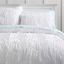 white ruched duvet cover queen
