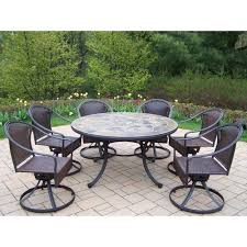 oakland living tuscany stone art 54 in 7 piece patio wicker swivel chair dining