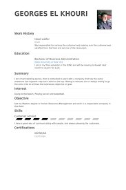 cv for a waiter head waiter resume samples visualcv resume samples database
