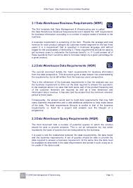 Business Requirement Example White Paper Data Warehouse Documentation Roadmap