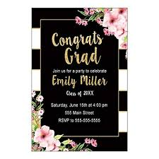 Graduation Party Invitation Template 30 Invitations Graduation Party Black Gold Floral Personalized Cards Photo Paper