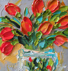 original oil painting red tulips impasto wall by ironsideimpastos 40 00 osh i love this