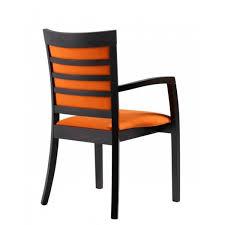 steffi orange upholstered and dark wood armchair