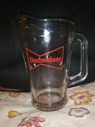 vintage glass budweiser beer pitcher great condition heavy