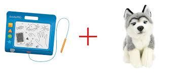 fisher doodlepro slim blue and toys r us plush 10 inch husky