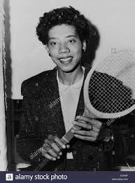 Althea Gibson, African American Tennis Player, Half-length Portrait holding  Tennis Racquet, by Fred Palumbo, New York World-Telegram and the Sun  Newspaper Photograph Collection, 1956 Stock Photo - Alamy