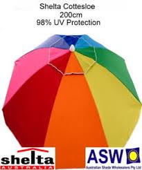 Image 240cm Umbrella Image Is Loading 200cmsheltacottesloeupf50beachumbrellarainbowsun Ebay 200cm Shelta Cottesloe Upf50 Beach Umbrella Rainbow Sun Shade Ebay