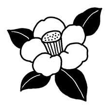 ツバキ1ツバキウメ椿梅冬の花無料白黒イラスト素材
