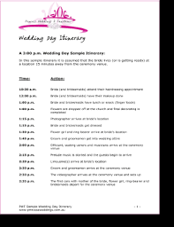 wedding day itinery fillable online sample wedding day itinerary princess weddings and
