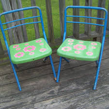 child size folding chairs. Vintage Pair Of Metal Child Size Folding Chairs...Flower Power. Chairs D