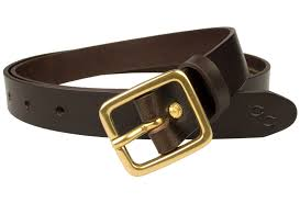 dark brown narrow leather belt with solid brass buckle high quality italian full grain vegetable