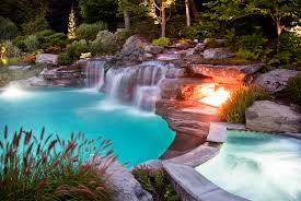 custom swimming pool designs. Exellent Custom Custom Outdoor Boulder Waterfall And Swimming Pool Fire Pit Design Mahwah NJ Intended Swimming Pool Designs