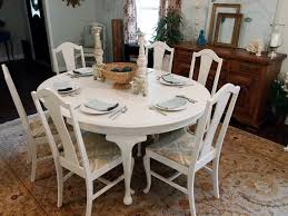 white dining room table. Beautiful White Round Shaby Chic Distressed Dining Table With 6 Chairs Ideas Room