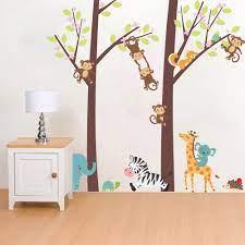 Multicolore, A Cartoon Animal Arbre Jungle Animaux Thème Wall Art Sticker  Autocollant Mural Décoration pour Salon Nursery Bébé Fille Garçon Enfant  Chambre Chambre Décoration Cuisine & Maison Stickers muraux
