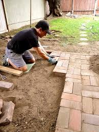 non permanent brick patio makeover