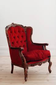 vintage deep red armchair  lily  bramwell
