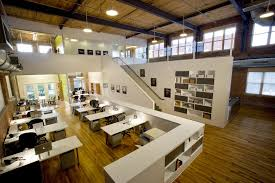 inspiring office design. Inspiring Office Workspace Contemporary Interior Design With Double Height And Wooden Floor White Work