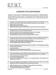leadership style questionnaire facilitator leadership