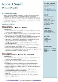 Food Charts In Hospital Dietary Director Resume Samples Qwikresume