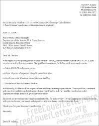 Cover Letter For Admin Clerk Administrative Clerk Cover Letter Sample