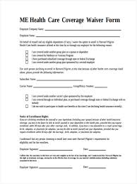 health insurance waiver form template waiver of health insurance coverage form insurance quotes and