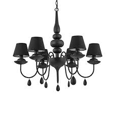 ideal lux blanche matt black six light chandelier with shades idl111872