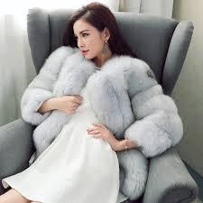2016 new winter coat long striped faux fur coat luxury fox fur coats women fashion fur