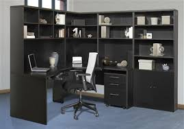 image of l shaped office desk with hutch top
