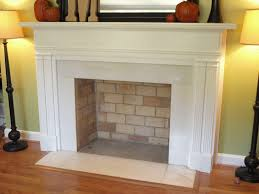 image of faux fireplace mantel with lamp