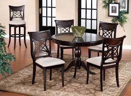 fantastic espresso round small kitchen table and 4 chairs set with white cushion featuring fl kitchen rug